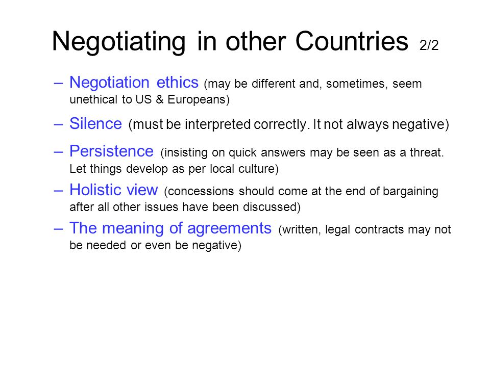 Negotiating in other Countries 2/2