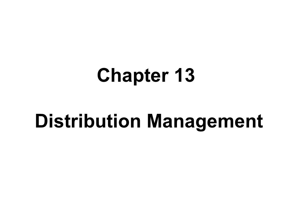 Distribution Management Distribution Management