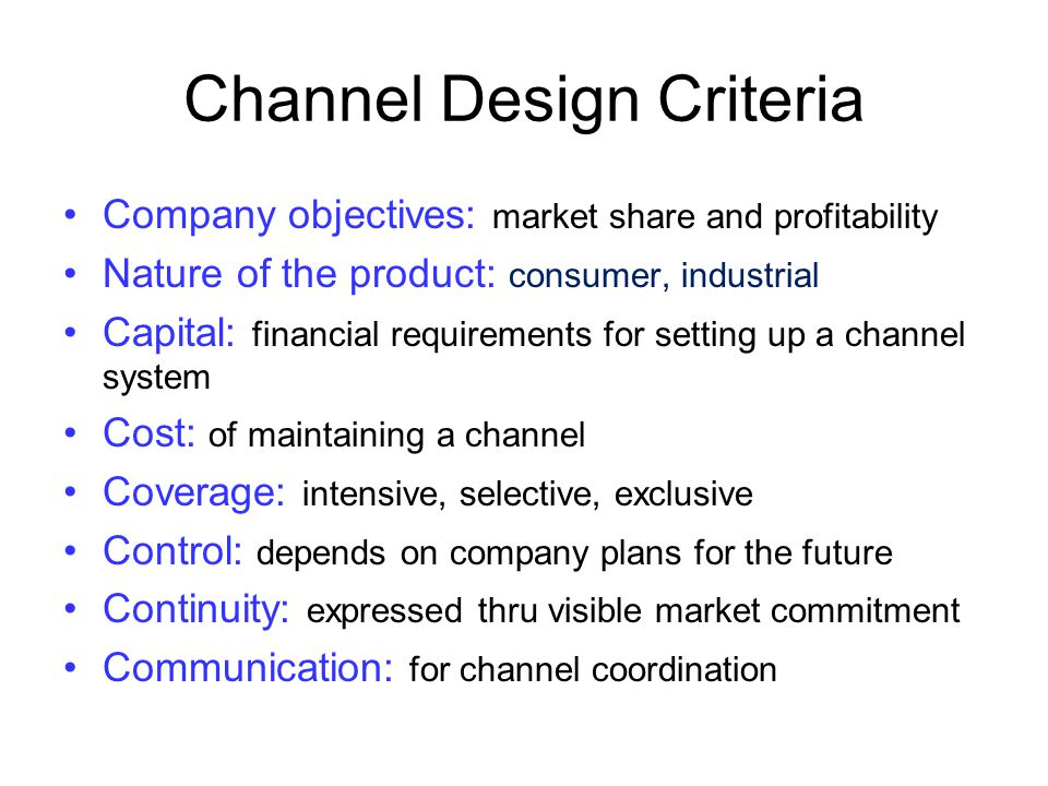Channel Design Criteria
