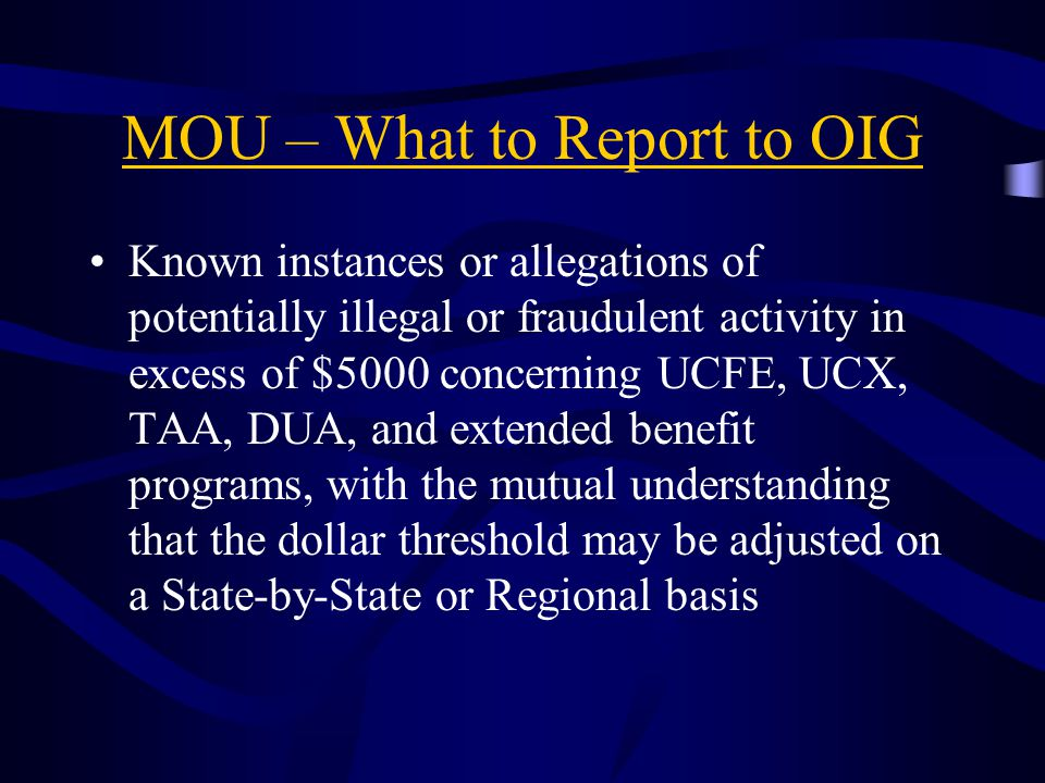 MOU – What to Report to OIG