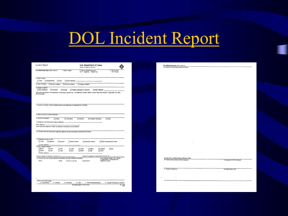 DOL Incident Report