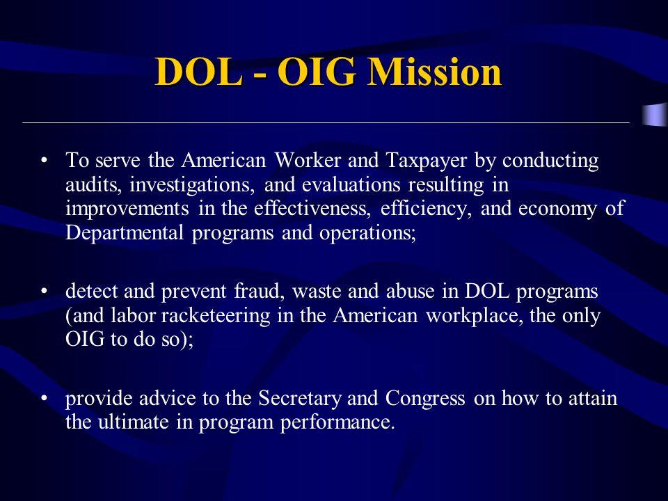 DOL - OIG Mission
