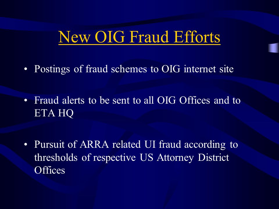 New OIG Fraud Efforts Postings of fraud schemes to OIG internet site