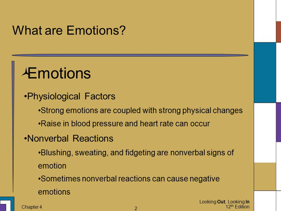 Emotions What are Emotions Physiological Factors Nonverbal Reactions
