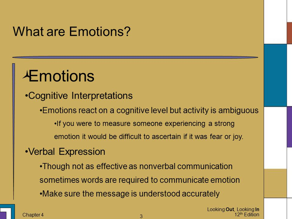 Emotions What are Emotions Cognitive Interpretations
