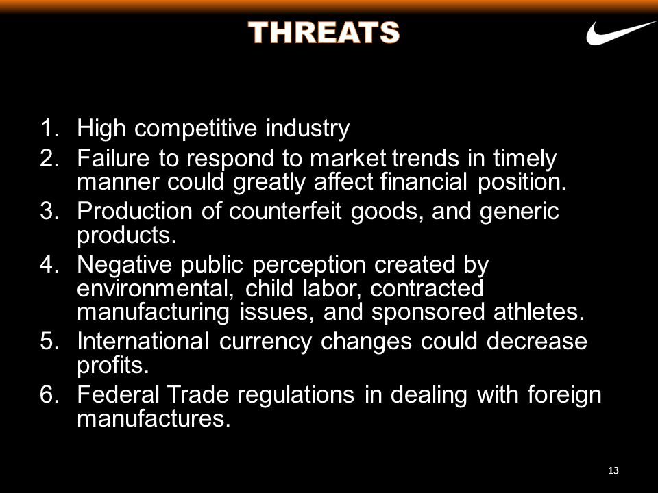 THREATS High competitive industry