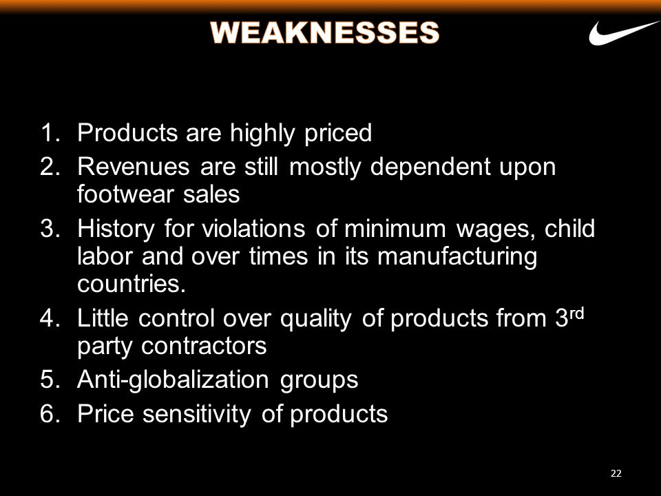 WEAKNESSES Products are highly priced