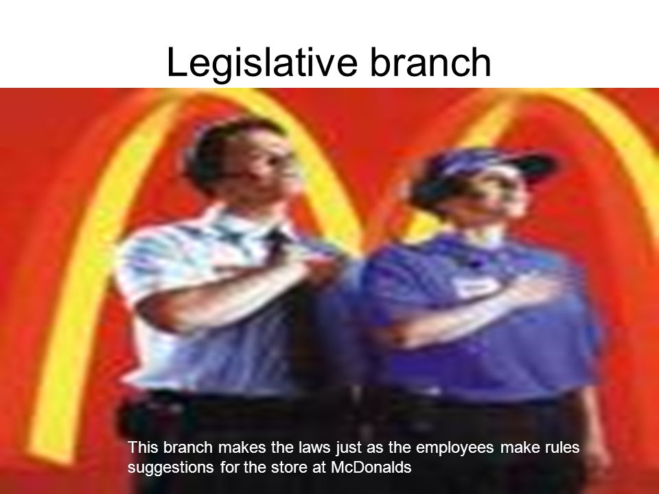 Legislative branch This branch makes the laws just as the employees make rules suggestions for the store at McDonalds.