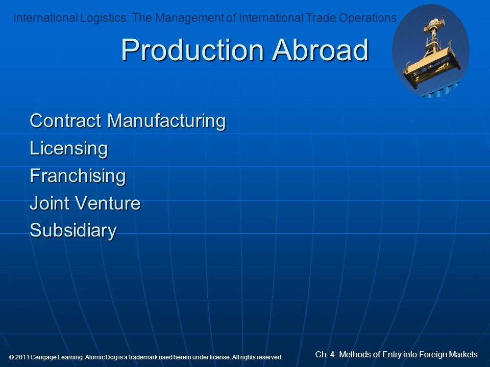 Production Abroad Contract Manufacturing Licensing Franchising