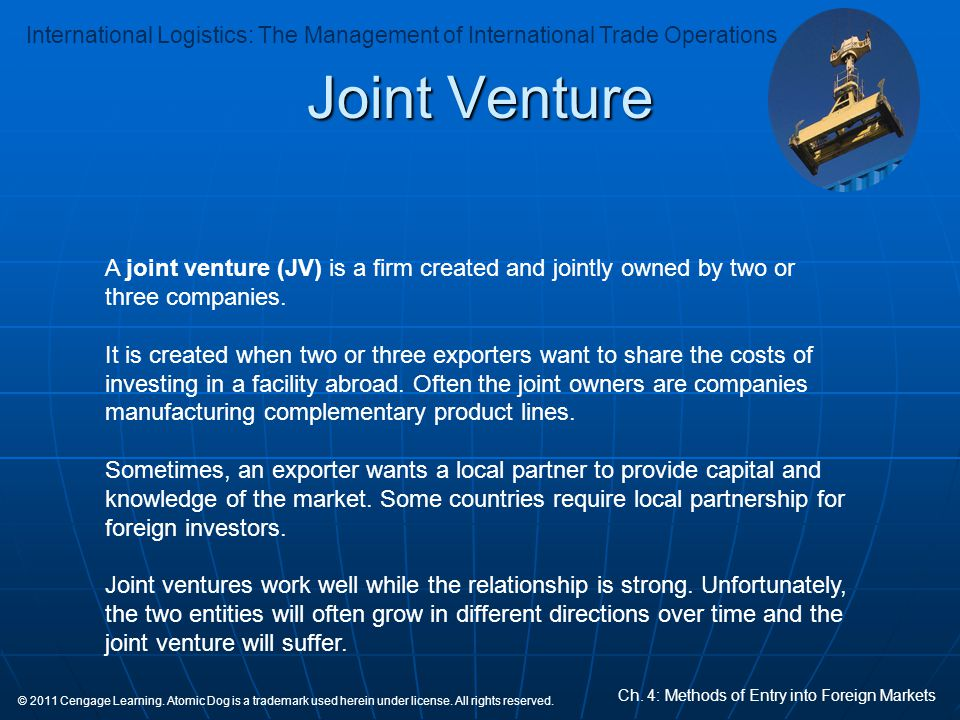 Joint Venture A joint venture (JV) is a firm created and jointly owned by two or three companies.