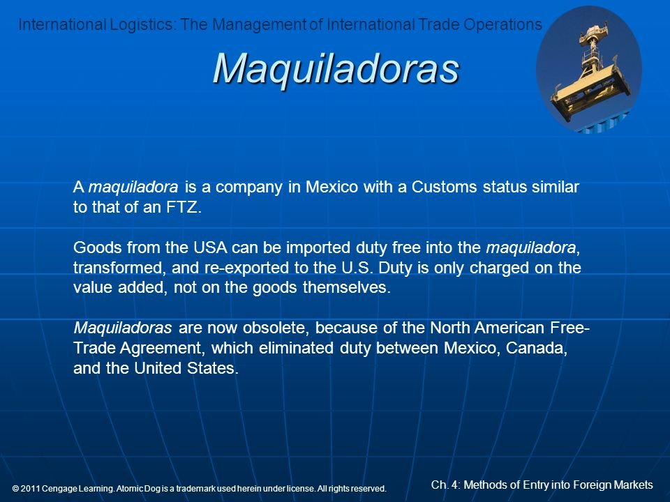 Maquiladoras A maquiladora is a company in Mexico with a Customs status similar to that of an FTZ.