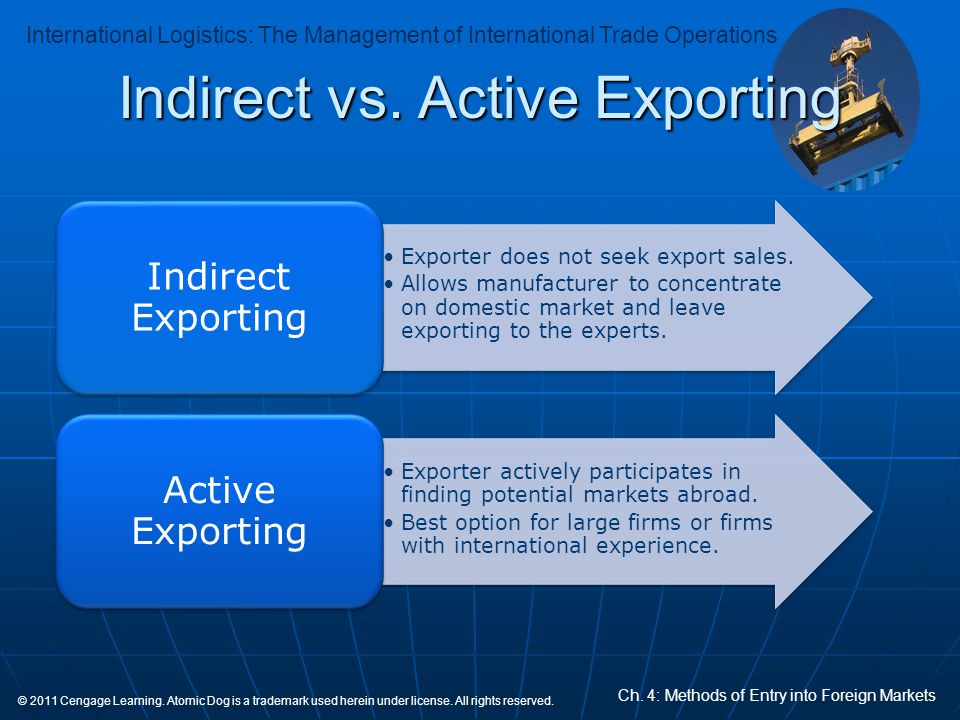 Indirect vs. Active Exporting