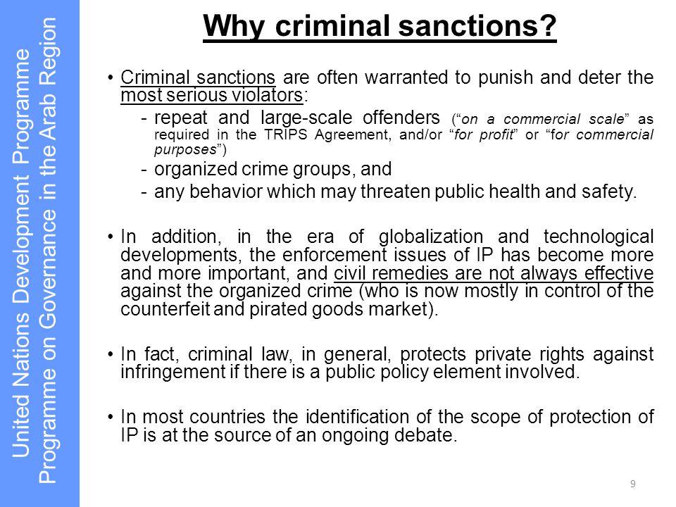 Why criminal sanctions