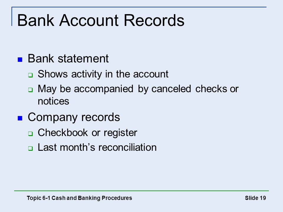 Bank Account Records Bank statement Company records