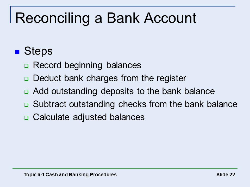 Reconciling a Bank Account