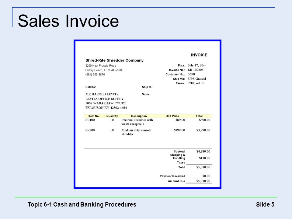 Sales Invoice Topic 6-1 Cash and Banking Procedures
