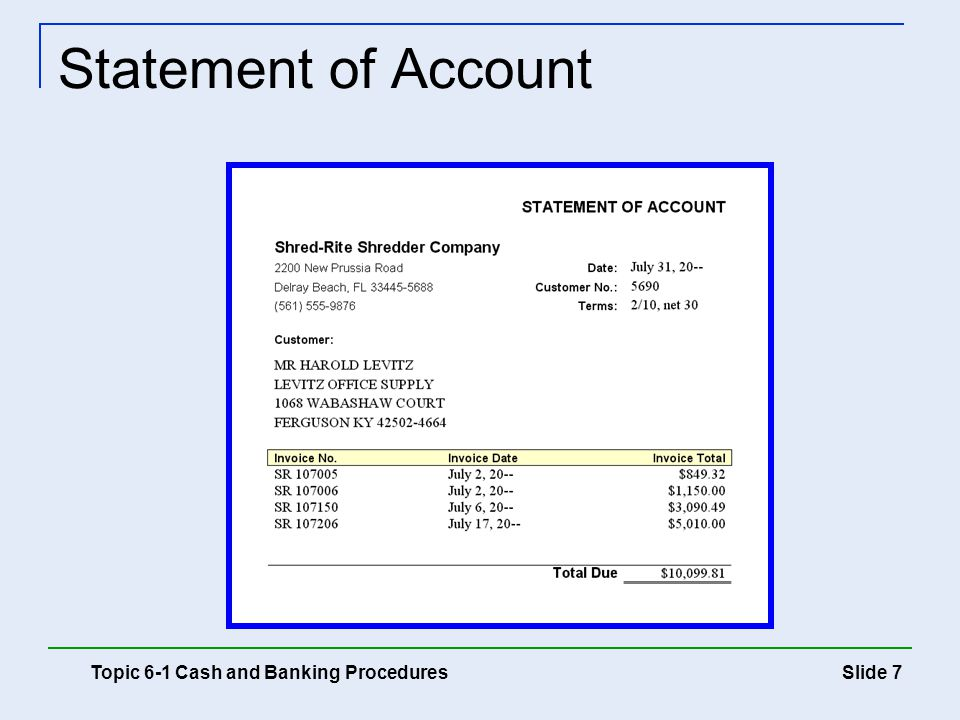 Statement of Account Topic 6-1 Cash and Banking Procedures