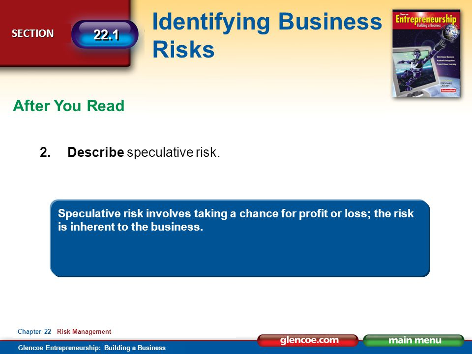 After You Read 2. Describe speculative risk.