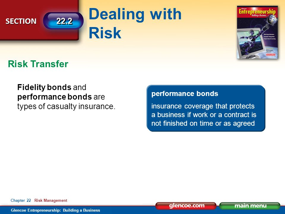 Risk Transfer Fidelity bonds and performance bonds are types of casualty insurance. performance bonds.