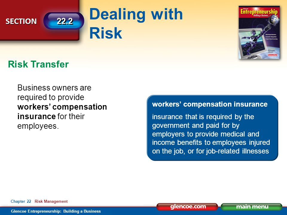 Risk Transfer Business owners are required to provide workers' compensation insurance for their employees.