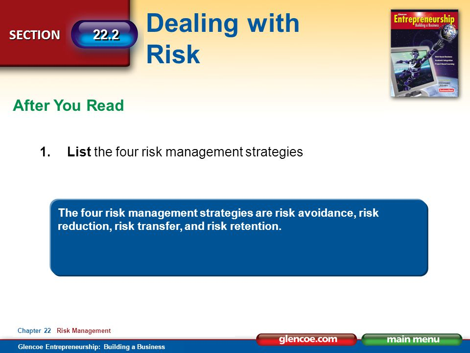 After You Read 1. List the four risk management strategies