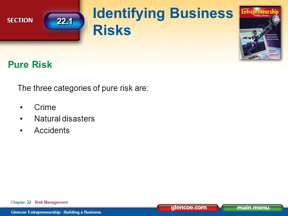 Pure Risk The three categories of pure risk are: Crime