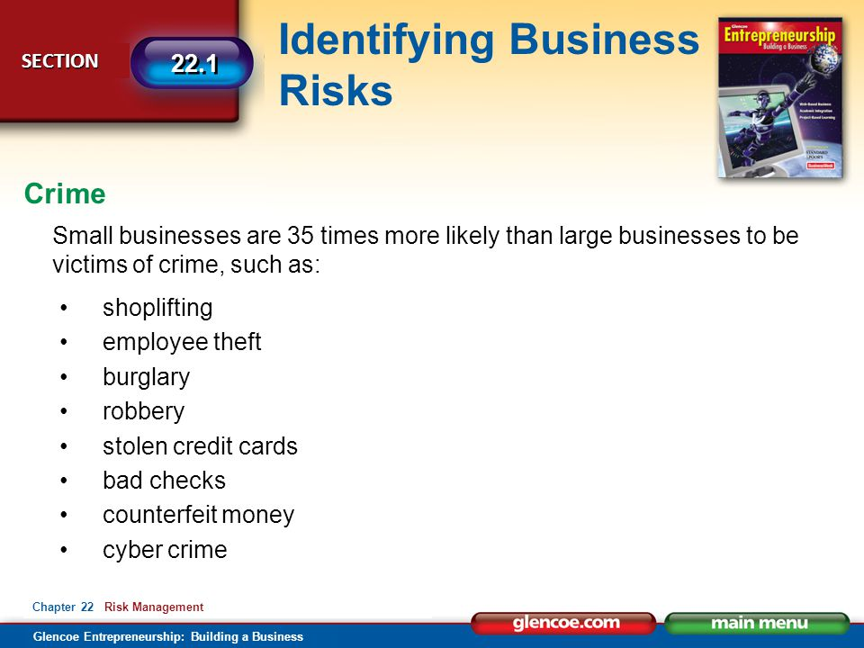 Crime Small businesses are 35 times more likely than large businesses to be victims of crime, such as: