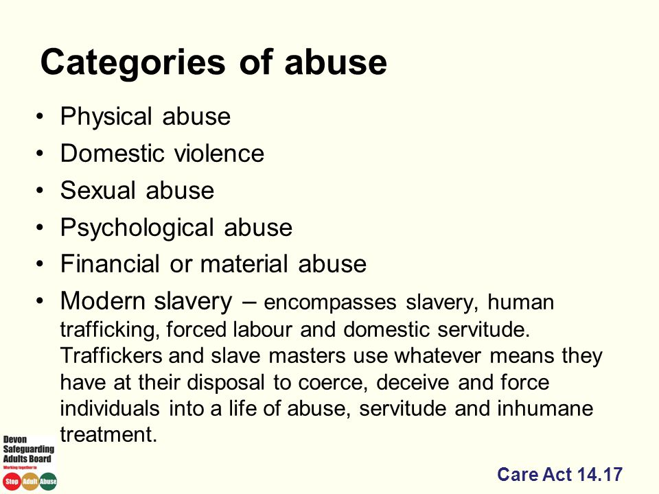 Categories of abuse Physical abuse Domestic violence Sexual abuse