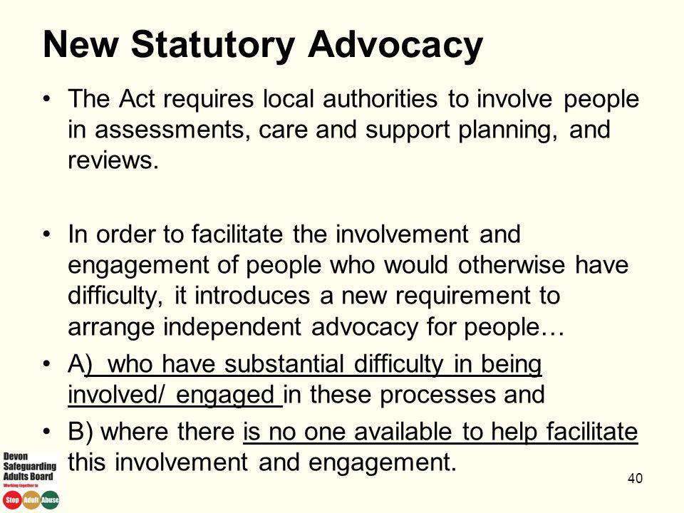 New Statutory Advocacy