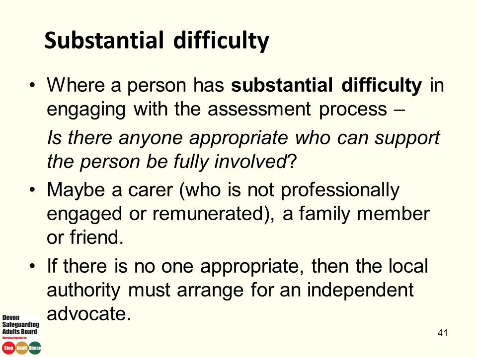 Substantial difficulty