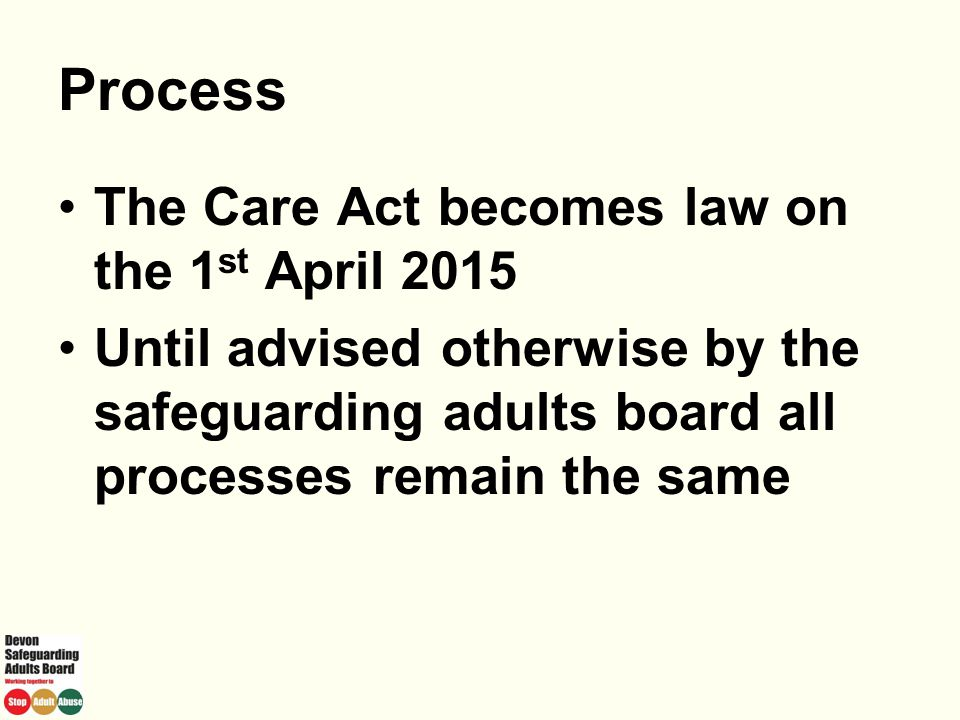 Process The Care Act becomes law on the 1st April 2015
