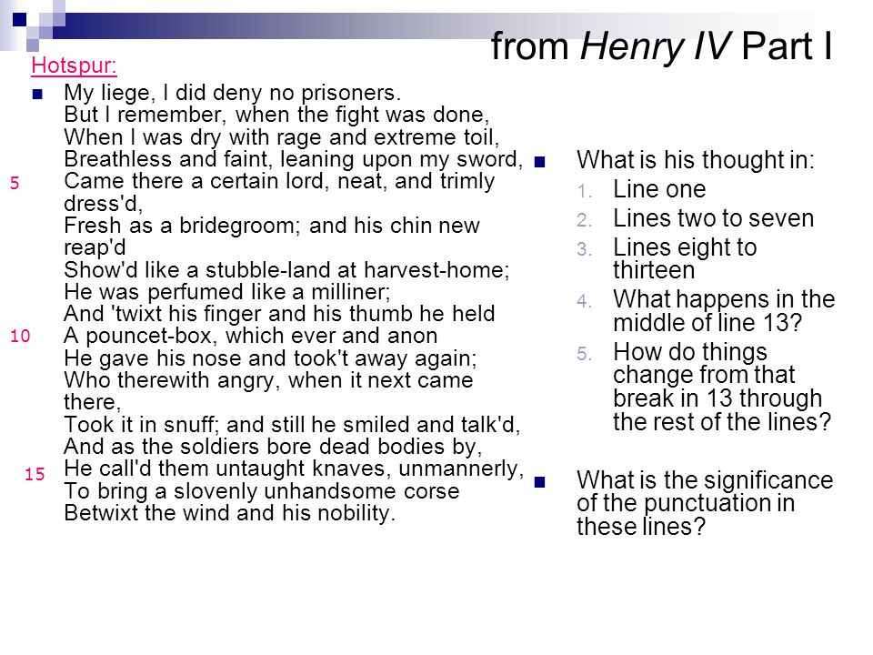 from Henry IV Part I What is his thought in: Line one
