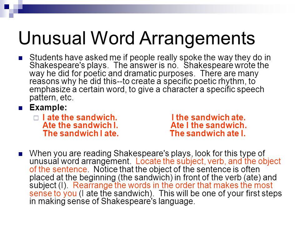 Unusual Word Arrangements