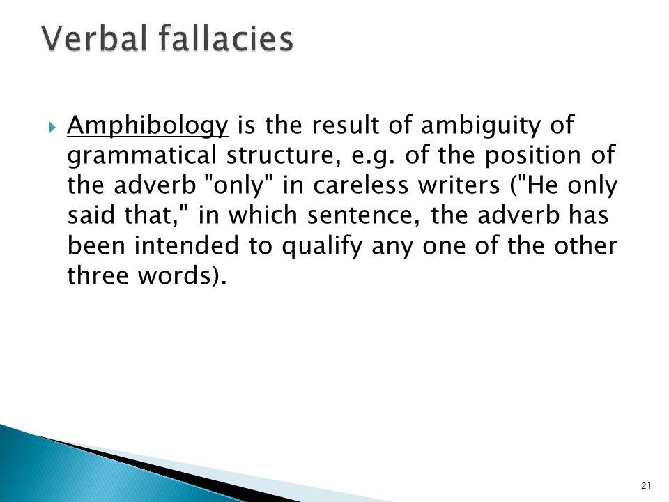 Verbal fallacies