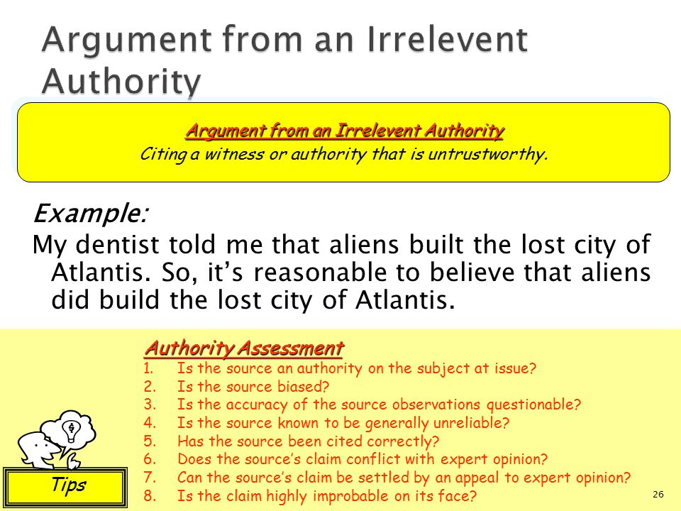 Argument from an Irrelevent Authority