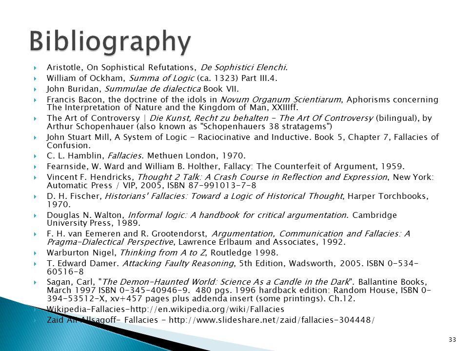 Bibliography Aristotle, On Sophistical Refutations, De Sophistici Elenchi. William of Ockham, Summa of Logic (ca. 1323) Part III.4.