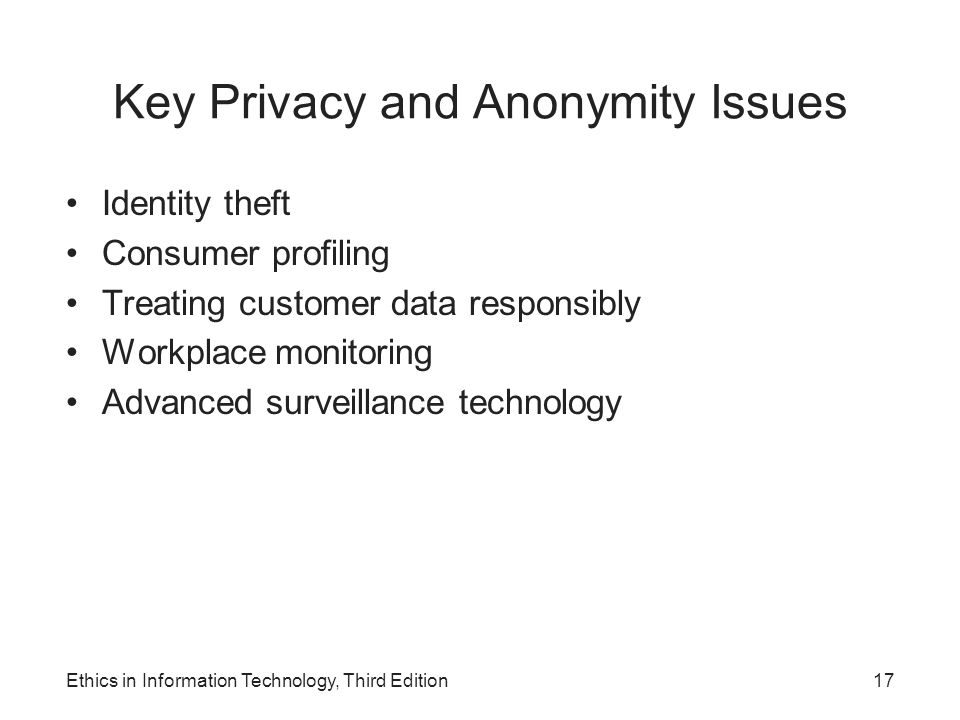 Key Privacy and Anonymity Issues