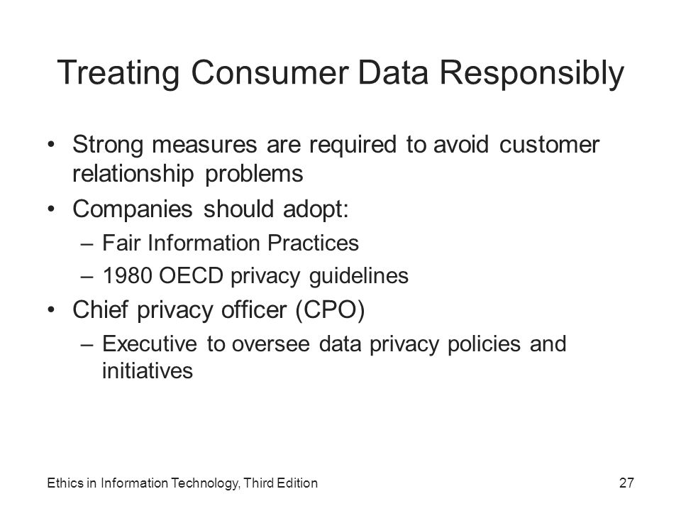 Treating Consumer Data Responsibly