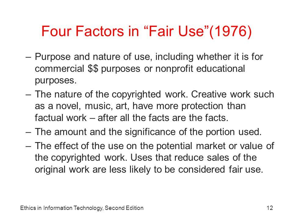 Four Factors in Fair Use (1976)