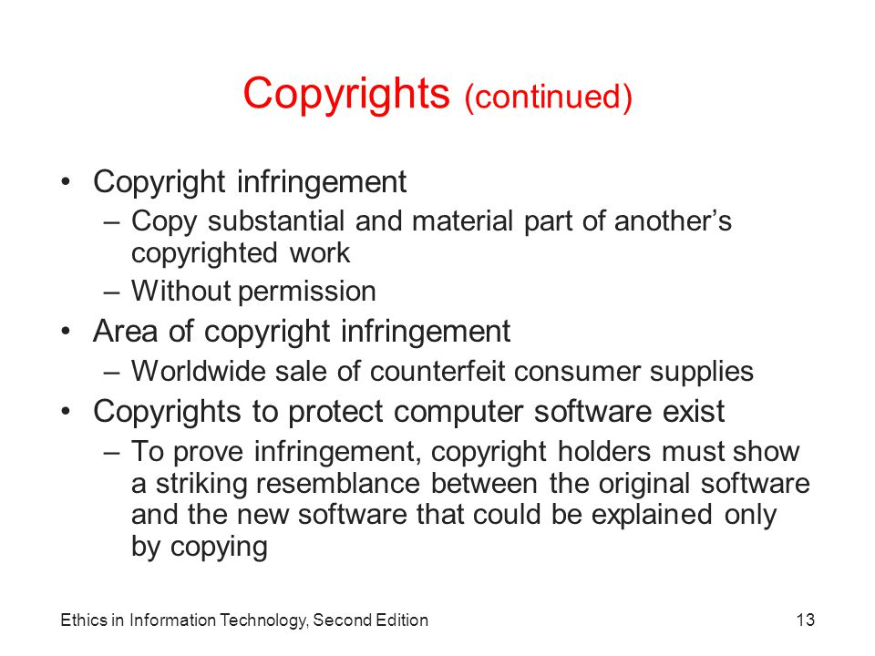 Copyrights (continued)