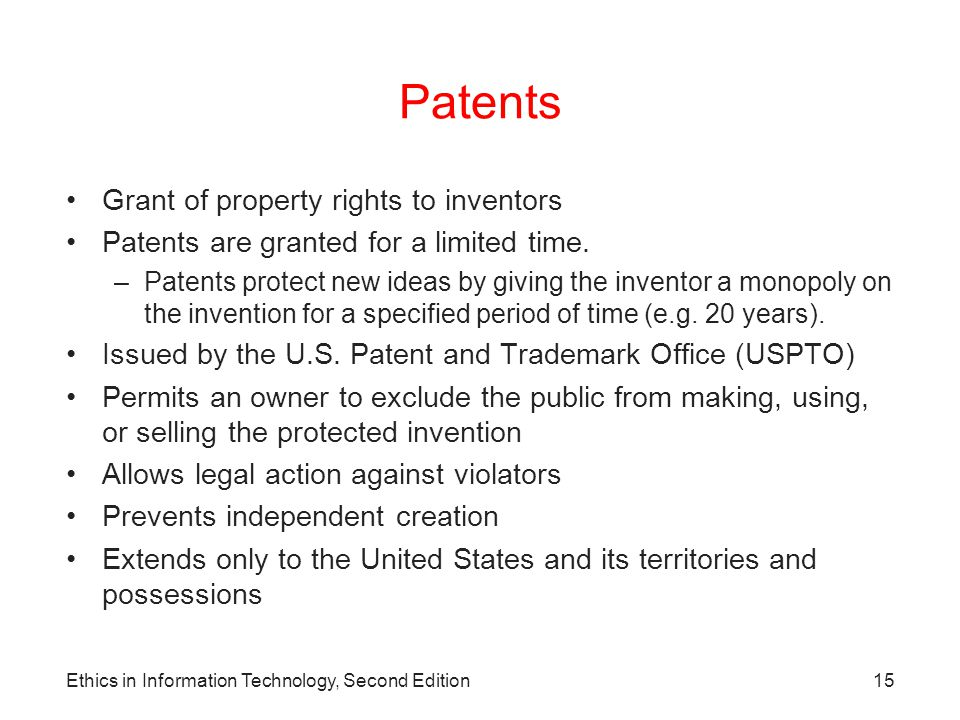 Patents Grant of property rights to inventors