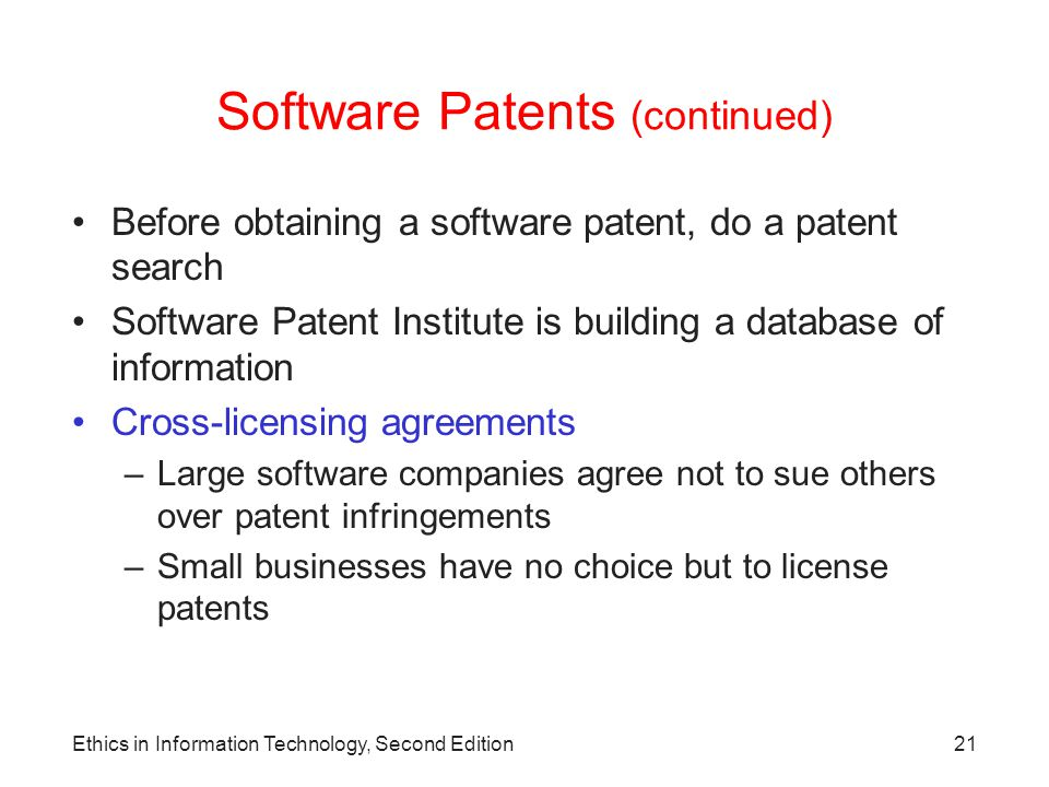 Software Patents (continued)