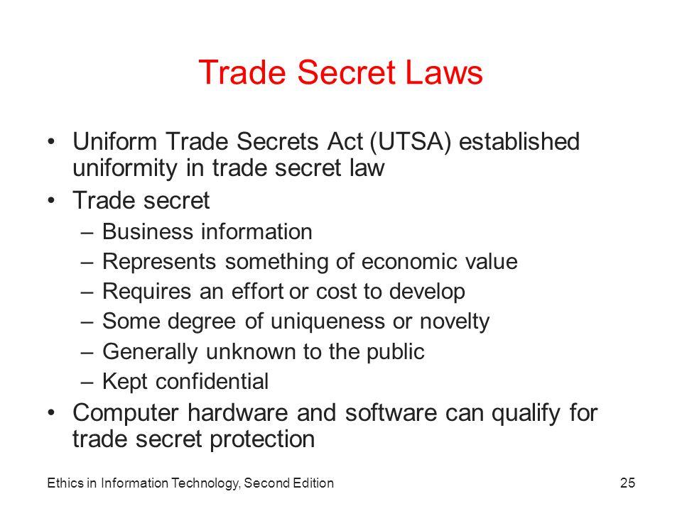 Trade Secret Laws Uniform Trade Secrets Act (UTSA) established uniformity in trade secret law. Trade secret.
