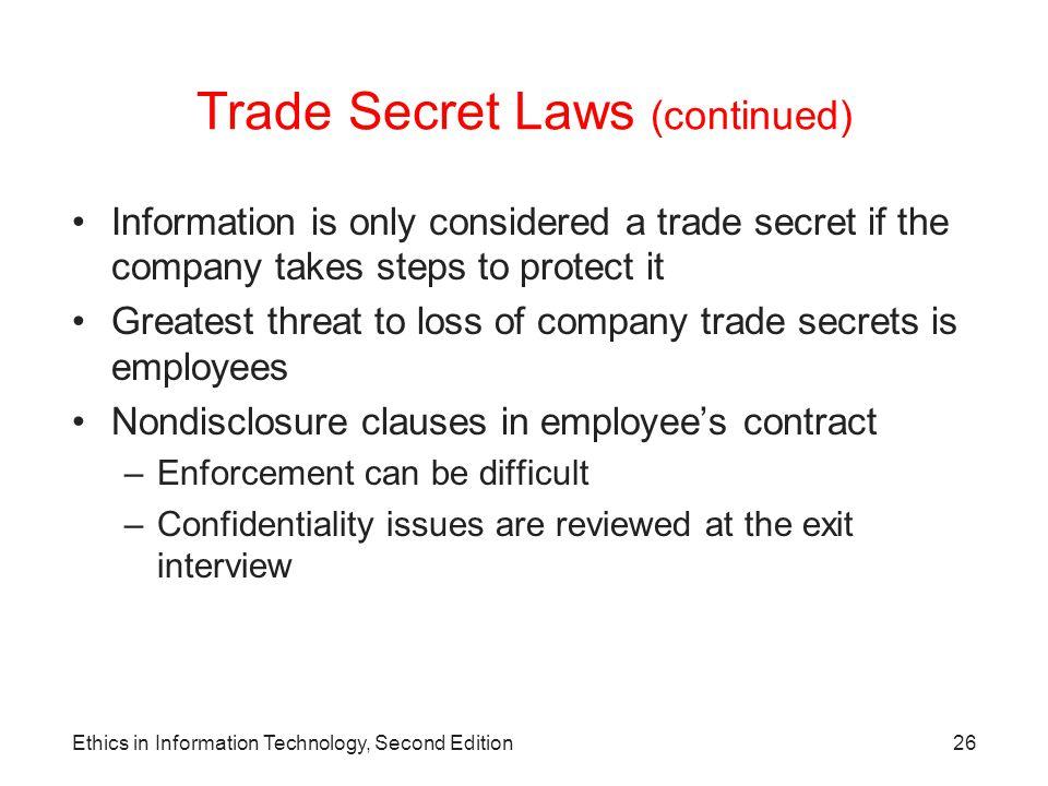 Trade Secret Laws (continued)