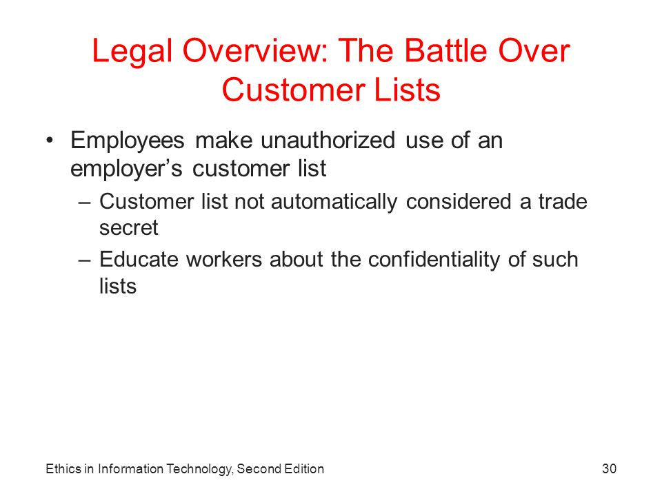 Legal Overview: The Battle Over Customer Lists