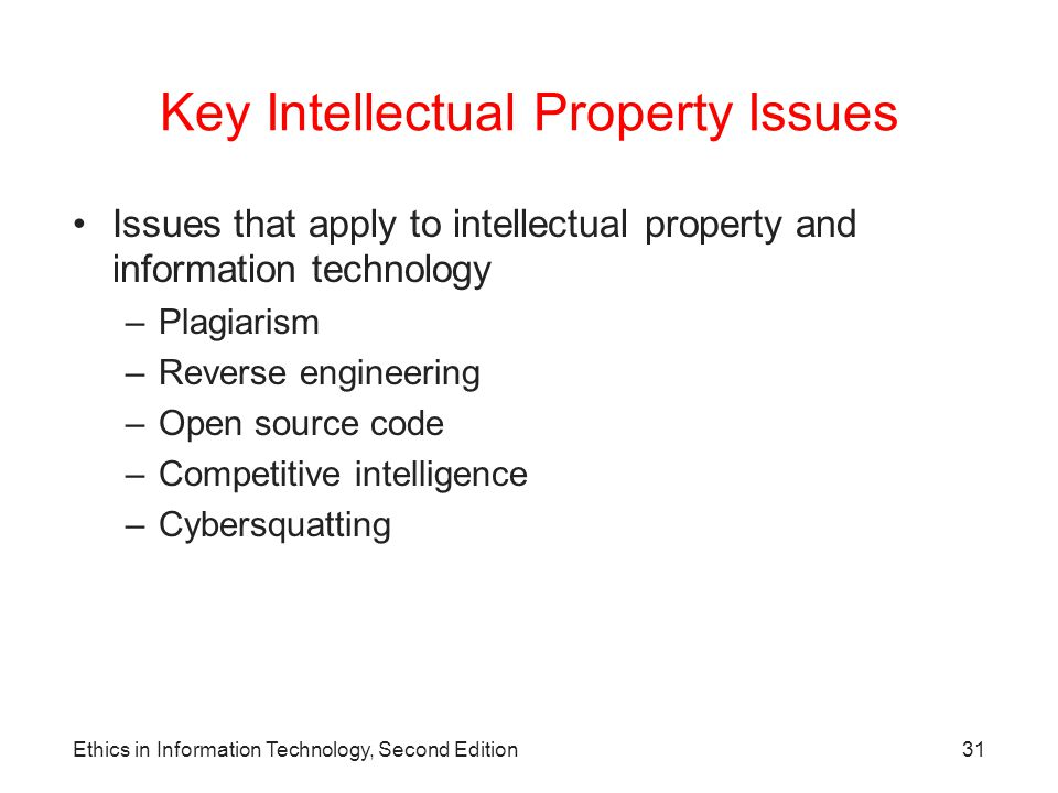 Key Intellectual Property Issues