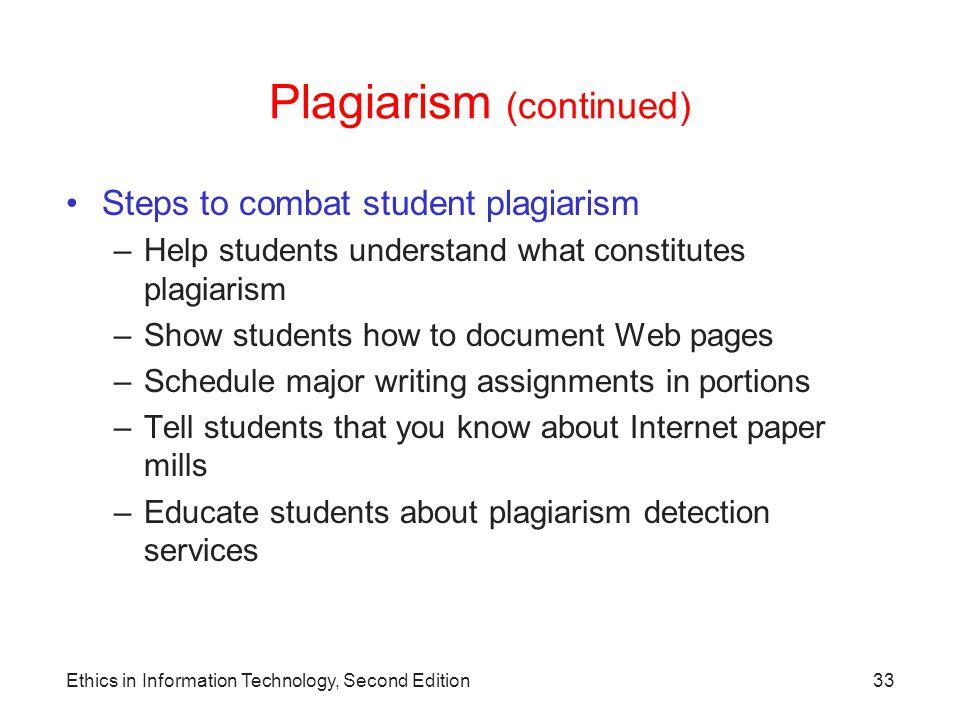 Plagiarism (continued)