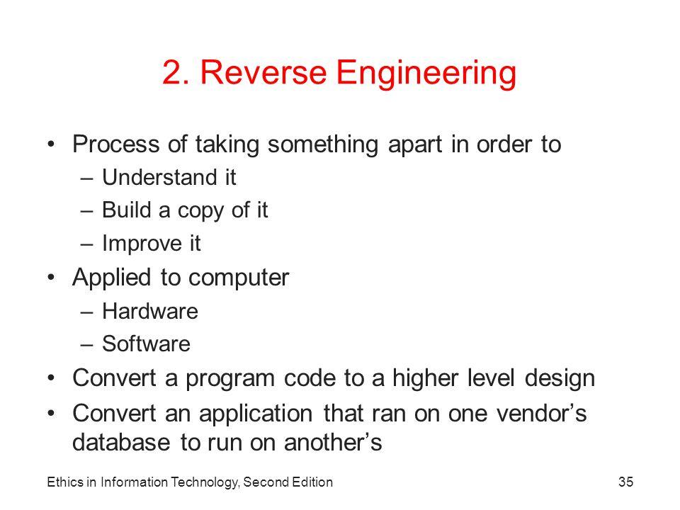 2. Reverse Engineering Process of taking something apart in order to