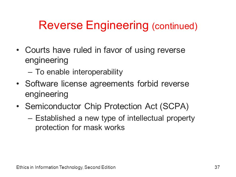 Reverse Engineering (continued)