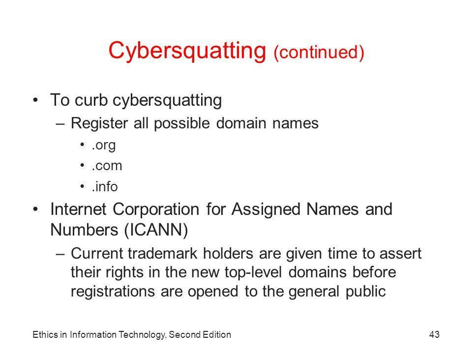 Cybersquatting (continued)